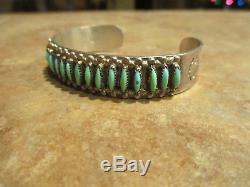 FINE Vintage Zuni Sterling Silver NEEDLEPOINT Turquoise ROW Cuff Bracelet