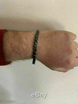 Fancy Solid 925 Silver 4mm Round Cut Black Diamond Men's Tennis Bracelet 8.25