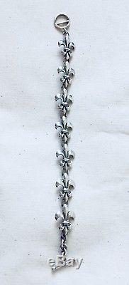 Genuine MIGNON FAGET fleur de lis linking bracelet-sterling silver
