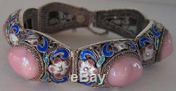 Gorgeous Chinese Vintage Sterling Silver Filigree Enamel Pink Stones Bracelet