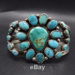 Gorgeous Vintage NAVAJO Sterling Silver & TURQUOISE Cluster Cuff BRACELET