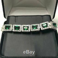 Green Emerald & Diamond Halo Bracelet Wedding Jewelry 14K Gold Over Gift 7.25