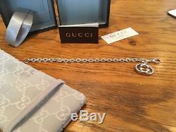 Gucci Sterling Silver GG Logo Bracelet 20cm