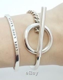 HERMES Sterling Silver 925 Croisette Toggle Bracelet 6.25