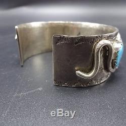 Heavy 82g Vintage ZUNI Sterling Silver & TURQUOISE Cuff BRACELET Effie Calavaza