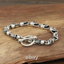 Heavy Men's Solid 925 Sterling Silver Bracelet Link Chain Skull Jewelry 8.7