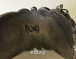 Hector Aguilar Vintage Sterling Silver Aztec Symbols Hinged Bangle Bracelet
