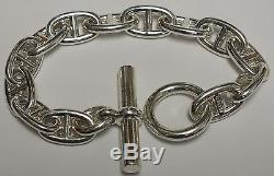 Hermes Sterling Silver Mens Chain d'Ancre Bracelet 10 Inches