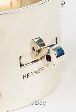 Hermes Sterling Silver ST Kelly GM Turnlock Wide Bangle Bracelet