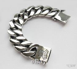 Huge Emperor Men Bracelet Curb Links Chain Solid. 925 Sterling Silver Sz 9 1/2