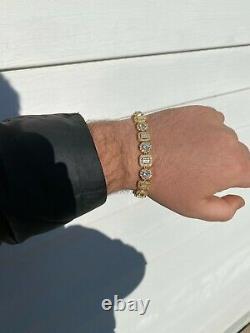 Iced Solid 925 Sterling Silver 14k Gold Baguette Diamond Tennis Bracelet Hip Hop