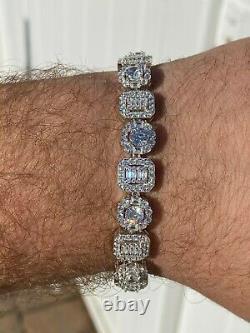 Iced Solid 925 Sterling Silver Baguette Diamond Tennis Bracelet Hip Hop Mens