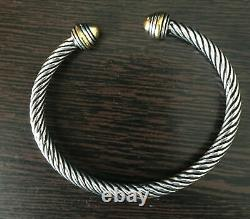 Inspired Classic 5mm Cable Cuff Sterling Silver Bracelet with 18k Gold on Silver