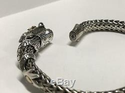 John Hardy 18k Yellow Gold/Sterling Silver Byzantine Cable Naga Dragon Bracelet