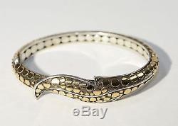 John Hardy Ayu Dot Sterling Silver & 18kt Gold Hinged Leaf Bracelet