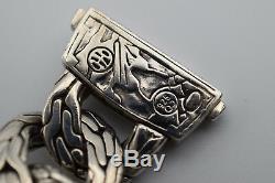 John Hardy Gemstone Large Curb Link Bracelet Sterling Silver RARE No Reserve
