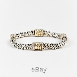 John Hardy Sterling Silver 18K Yellow Gold Dot Station Woven Link Bracelet