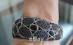 John Hardy Sterling Silver Black Sapphire Cuff Bracelet 925