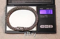 John Hardy Sterling Silver Classic 11mm Black Sapphire Wheat Bracelet