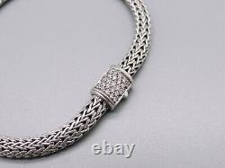John Hardy Sterling Silver Pave Diamond 4mm Classic Wheat Chain Bracelet