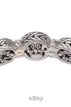 John Hardy Sterling Silver Pave Diamond Trio Station Bracelet