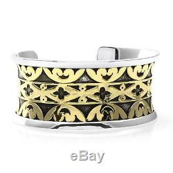 John Hardy Sterling Silver and 18K Yellow Gold Cuff Bracelet FJ