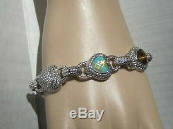Judith Ripka LRG heavy sterling silver TURQUOISE Tigers Eye CZ heart bracelet 8+