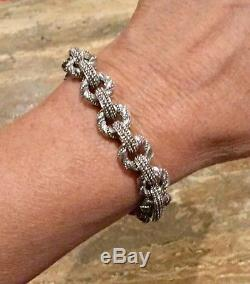 Judith Ripka Sterling Silver 925 Textured Link Bracelet Spectacular