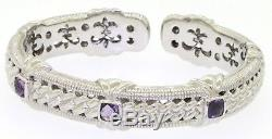 Judith Ripka Sterling silver 2.0CT amethyst hinged cuff bracelet