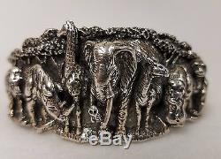 KABANA Cast Sterling Silver Wildlife Bracelet 7 Animals Elephant Giraffe Hippo +