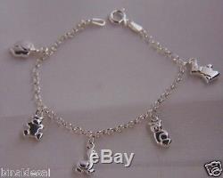 Kids Girls 925 Sterling Silver Animal Cat Scottie Dog Charm Bracelet B'day GIFT