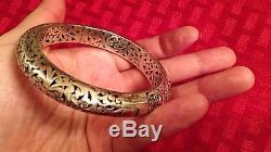 Konstantino Sterling Silver Filigree Etched Floral Oval Hinge Bangle Bracelet