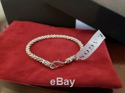 LAGOS Caviar Sterling Silver 4mm Rope Bracelet Spacers 7.25 NWT