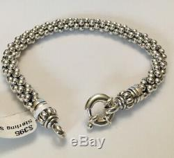 LAGOS Caviar Sterling Silver 7mm Rope Bracelet $395 NWT 8 Inch