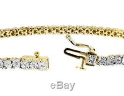 LadiesTwo Tone Gold Finish 1 Row Genuine Round Diamond Tennis Bracelet 0.25 ct