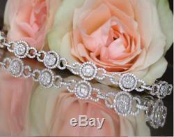 Ladies 10.00 Ct Round Cut VVS1 Diamond Tennis Bracelet 14k White Gold Over 7.25