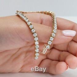 Ladies Birthday Gift 6.00 CT Diamond Tennis Bracelet 7 14K Yellow Gold Over
