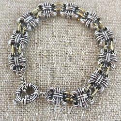 Lagos Caviar Sterling Silver 18K Gold Accent Link Bracelet 9