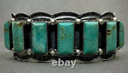 Large Navajo Sterling Silver Turquoise Cuff Bracelet HEAVY & GORGEOUS