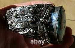 Large Old Pawn Navajo Sterling Silver & Turquoise Stone Cuff Bracelet