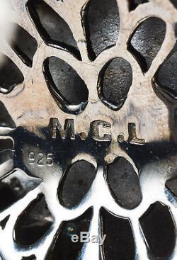MCL White Multicolor Sterling Silver Enamel & Crystal Open Cuff Bracelet