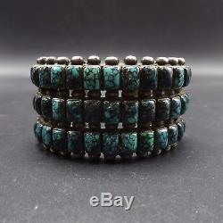 MUSEUM Vintage NAVAJO Sterling Silver & Square TURQUOISE Cab Cuff BRACELET 158g
