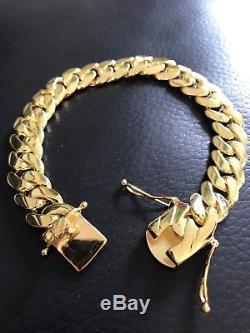 Men Cuban Miami Link Bracelet 14k Gold Over Solid 925 Sterling Silver 12mm Wide
