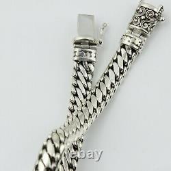 Men /Women 925 Sterling Silver Vintage 9mm Thick Silver Chain Hand Bracelet 8