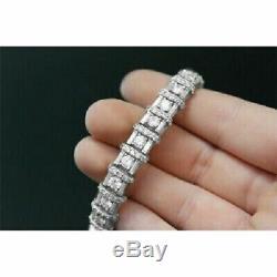 Men's 10K White Gold Over 15.00 Ct Round Cut Diamond 11 Tennis Perfect Bracelet