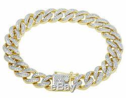 Men's 10K Yellow Gold Over D/VVS1 Diamond Miami Cuban Link Bracelet 5.00 CT 8.5