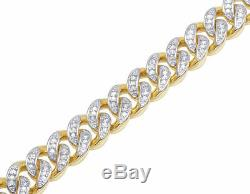 Men's 10K Yellow Gold Over Diamond Miami Cuban Link Bracelet 1 CT 9MM 8.25