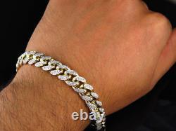 Men's 11Ct Round Cut Diamond 14K Yellow Gold Over Miami Curb Cuban Link Bracelet