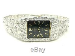 Men's 925 Sterling Silver Nugget Link Graduated Bracelet Geneve Wrist Watch 8