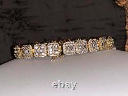 Men's Baguette Tennis Link Chain Bracelet 14K Yellow Gold Over Round Cut Diamond